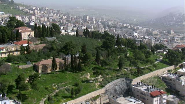 Aerial Mount of Olives and arab village in Jerusalem, Israel