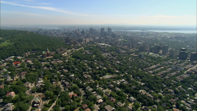 Aerial WS Mount Royal and surrounding cityscape / Montreal, Quebec, Canada