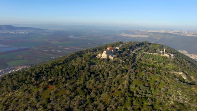 Aerial/ Mount Tabor with Jezreel Valley in background ,Galilee, Israel