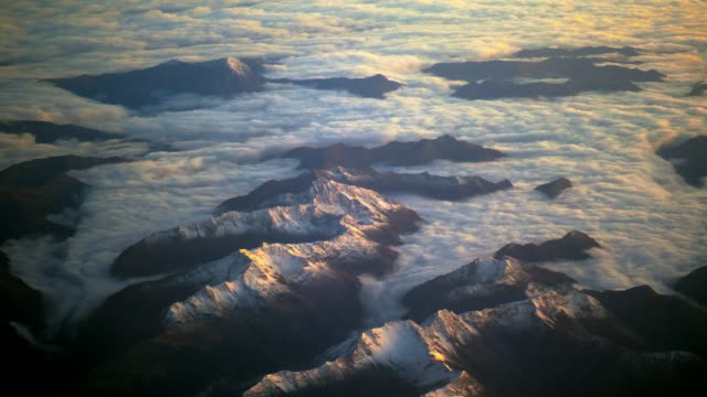 aerial mountain range at sunrise - cote d'azur stock videos & royalty-free footage
