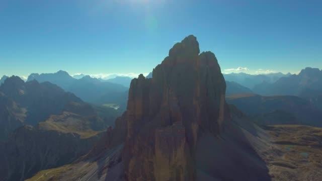 aerial mountain rock at tre cime dolomites - dolomiti video stock e b–roll