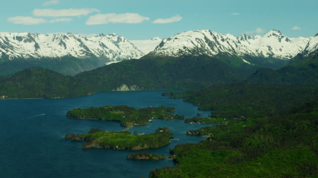 aerial mountains and islands in kachemak bay alaska - polar climate stock videos and b-roll footage