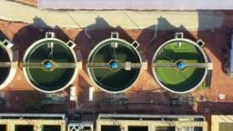 4K Aerial Movie of Sewage Treatment Plant