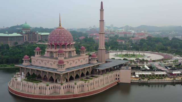 4K Aerial Movie View of Putra Mosque in Kuala Lumpur, Malaysia, officially the Federal Territory