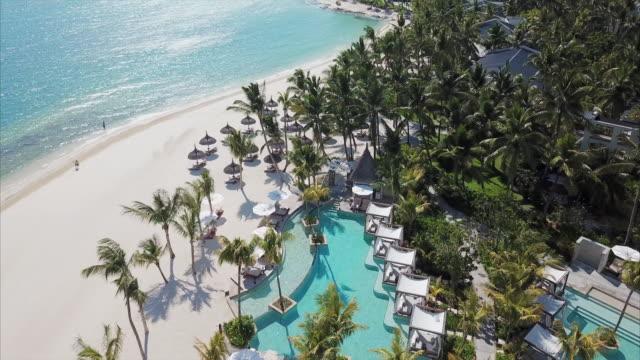 Aerial Moving Shot of a Tropical Island Resort - Mauritius Island, Mauritius