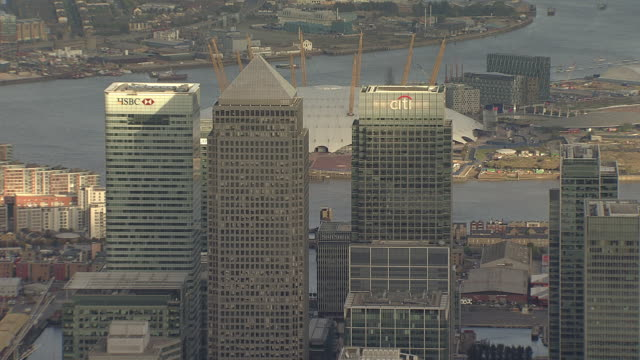 Aerial M/S Canary Wharf & Canada Tower with O2 Arena in background