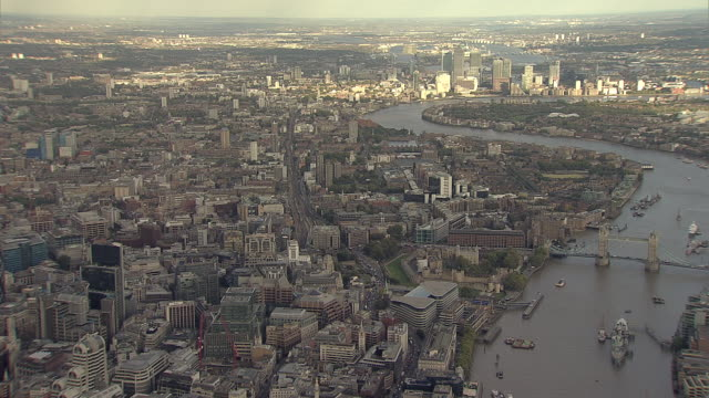 """Aerial M/S City of London,  East End of London, Tower Bridge with Canary Wharf in distance"""