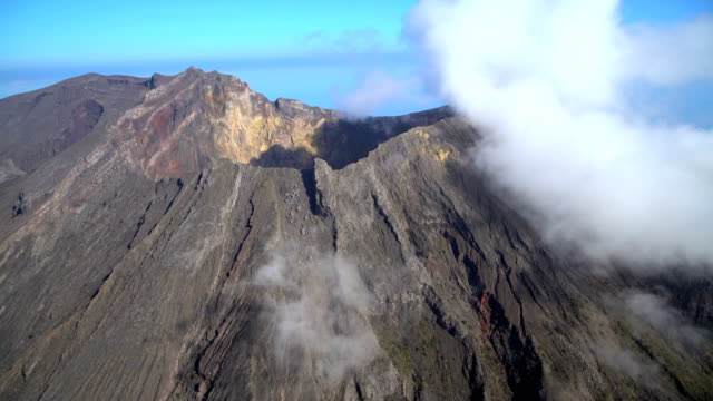 aerial mt agung gunung agung volcano mountain bali - indonesia volcano stock videos & royalty-free footage