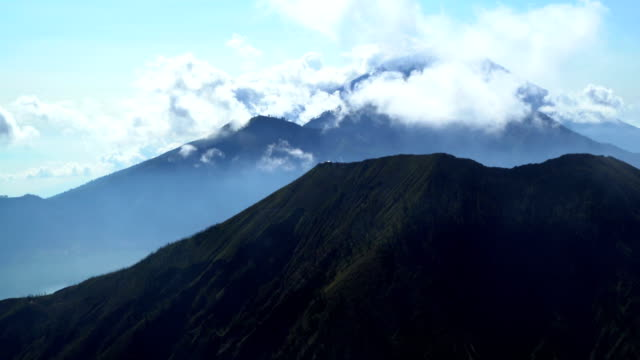 aerial mt batur mt abang mt agung bali - balinese culture stock videos & royalty-free footage
