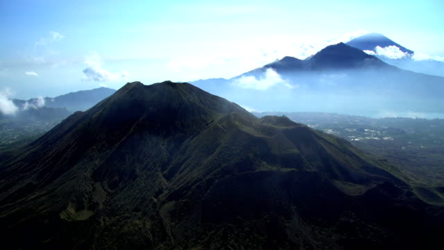 aerial mt batur mt abang mt agung bali - indonesia volcano stock videos & royalty-free footage