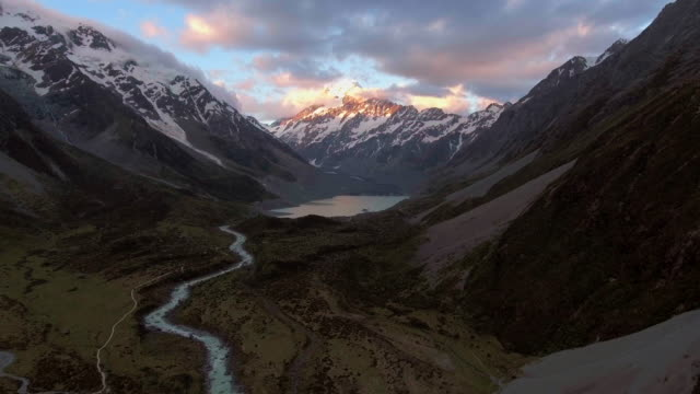 aerial mt. cook ,new zealand - sunny stock videos & royalty-free footage