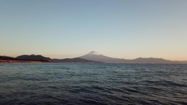 aerial mt.fuji and sea in shizuoka,japan - shizuoka prefecture stock videos and b-roll footage
