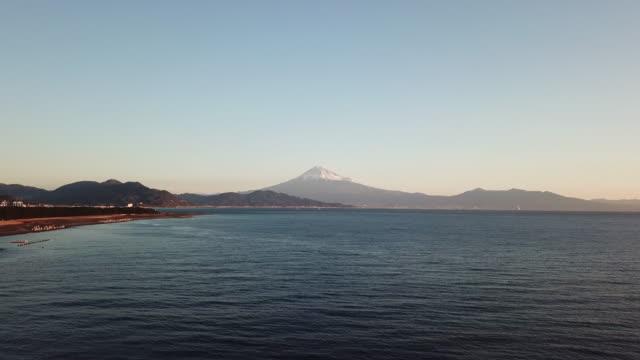 Aerial Mt.Fuji and sea in Shizuoka,Japan