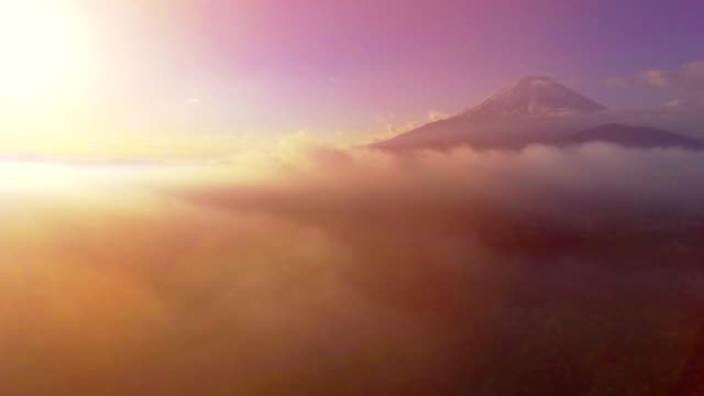 aerial mt.fuji with cloudy at sunrise - shizuoka prefecture stock videos and b-roll footage