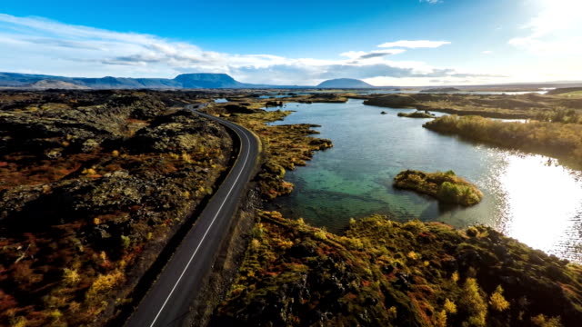 Aerial Myvatn Landscape in Iceland