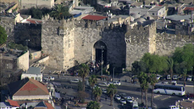 aerial nablus gate in the old city of jerusalem, israel - jerusalem old city stock videos and b-roll footage