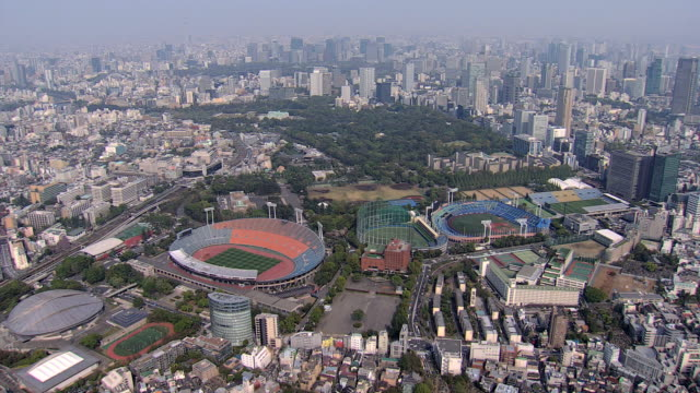aerial national sports stadium 1964 olympics tokyo japan - stabilimento sportivo video stock e b–roll