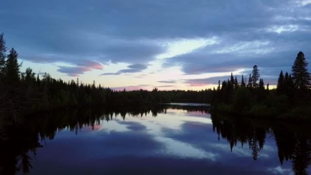 Aerial Nature Landscape Flying over River at Sunset