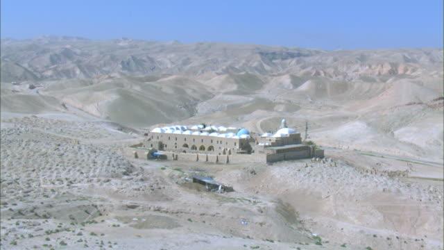 Aerial Nebi Musain in the Judea desert near the Dead sea, Israel