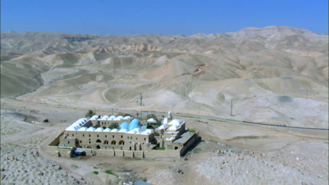 Aerial Nebi Musain in the Judea desert near the Dead sea, Israel