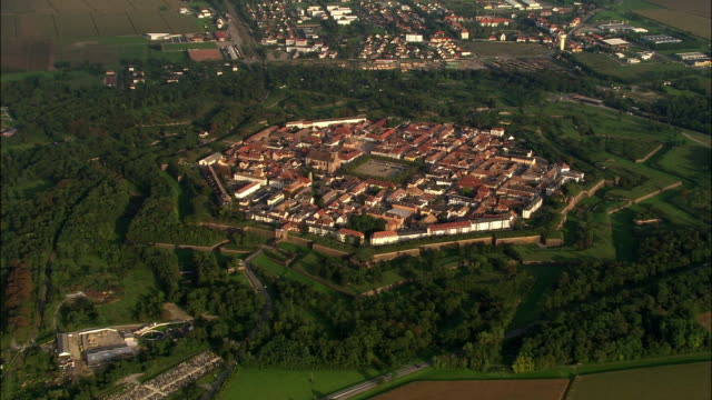 Aerial WS Neuf-Brisach citadel and fortified town commune in valley landscape / Haut-Rhin, Alsace, France