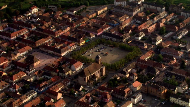 Aerial WS ZO Neuf-Brisach citadel and fortified town commune in valley landscape / Haut-Rhin, Alsace, France