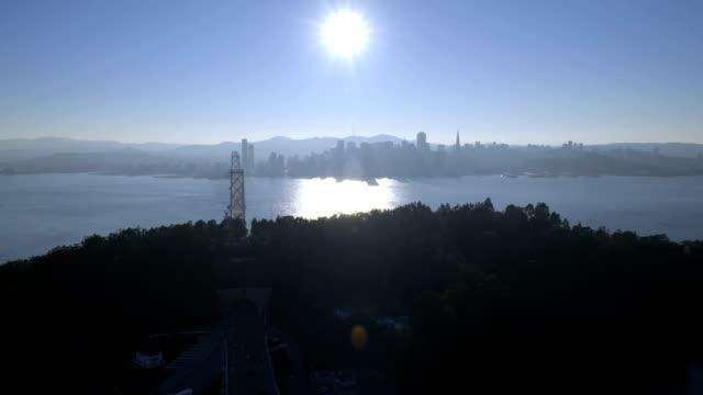 Aerial New Bay Suspension Bridge San Francisco USA