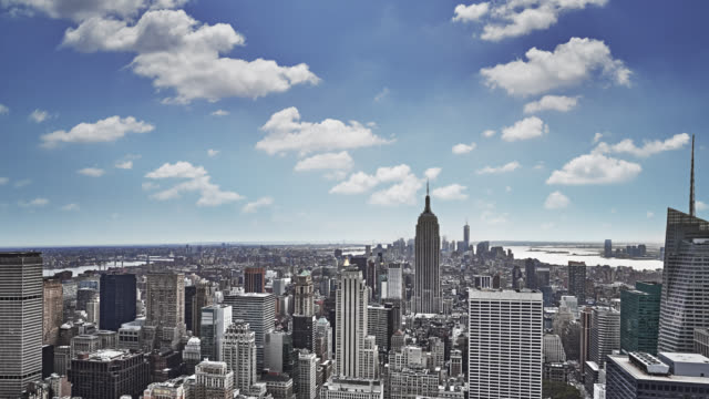 aerial new york - midtown new york city stock videos and b-roll footage