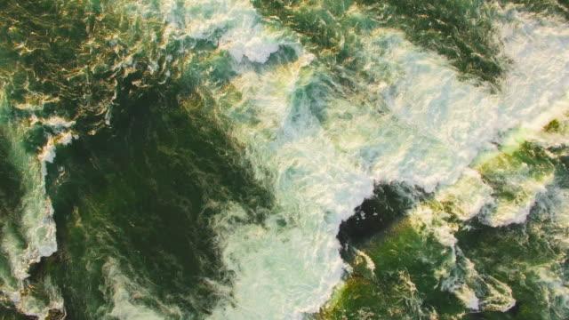 4k aerial niagara falls: fresh water pan up - river niagara stock videos & royalty-free footage