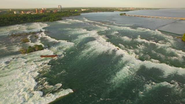 4k aerial niagara falls: upper river - river niagara stock videos & royalty-free footage