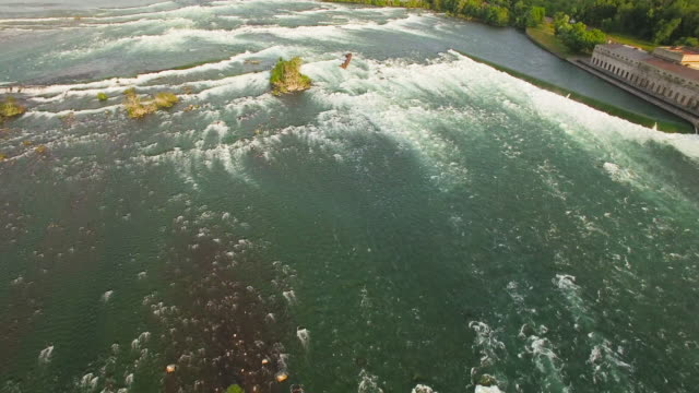 4k aerial niagara falls: view turn - niagara falls stock videos and b-roll footage
