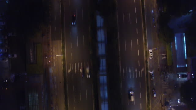 Aerial night drone view of traffic in Shenzhen China