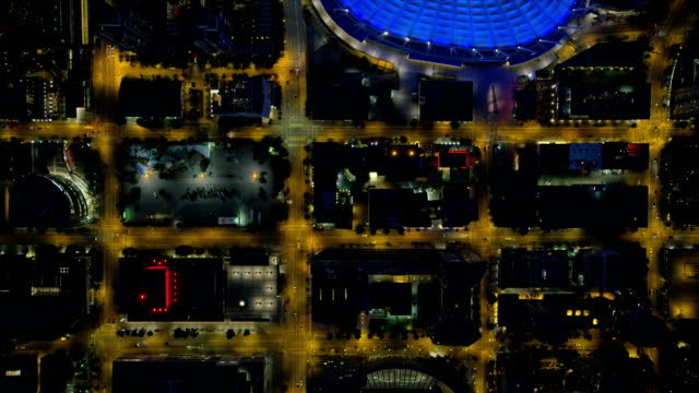 Aerial night overhead downtown Vancouver British Columbia Canada