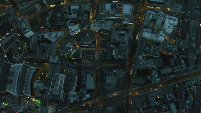 aerial night overhead view walkie talkie building london - aerial view stock videos & royalty-free footage
