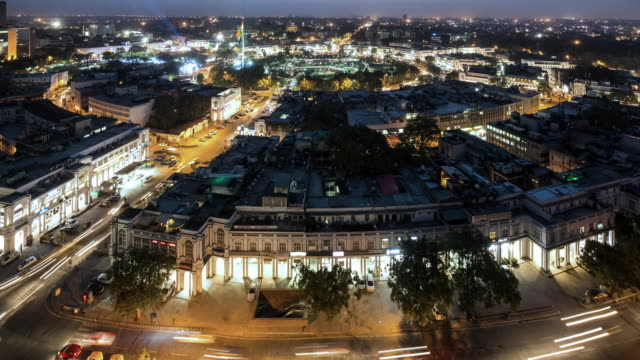 TL, WS, TU Aerial night time view of Connaught Place / Delhi, India