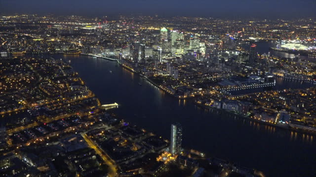 Aerial night video of Canary Wharf.