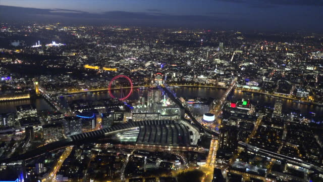 Aerial night video of South bank.