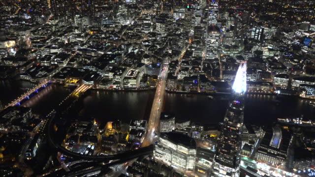 aerial night video of southwark. london, uk. - shard london bridge stock videos & royalty-free footage