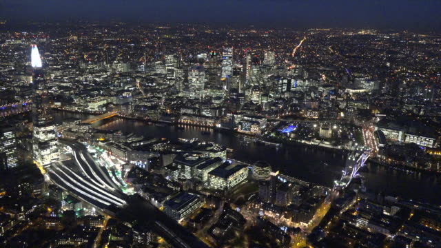 aerial night video of the city of london. - night stock videos & royalty-free footage