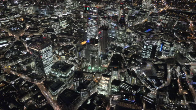 Aerial night video of the City of London.