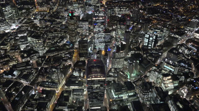 aerial night video of the city of london. - london england stock videos & royalty-free footage