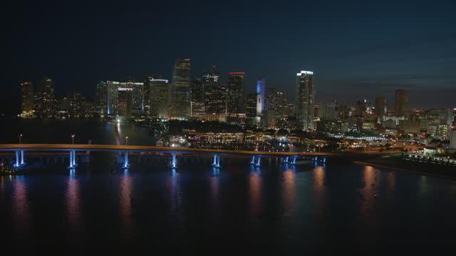 aerial night view american airlines arena florida usa - macarthur causeway bridge stock videos & royalty-free footage