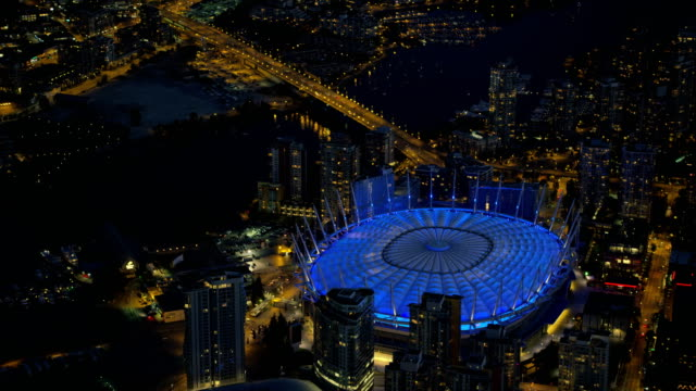 Aerial night view BC Place lights Vancouver Canada