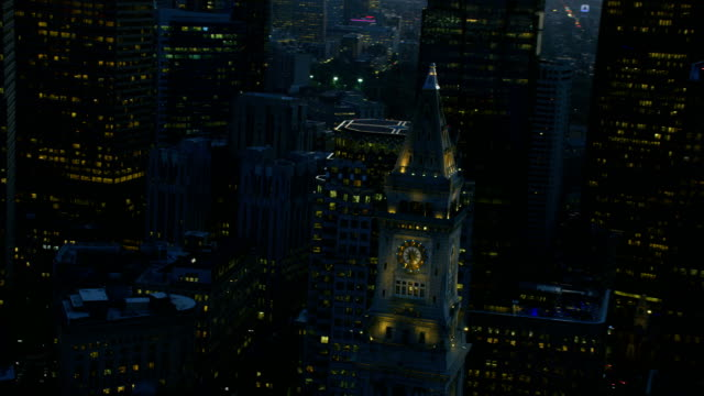aerial night view custom house building boston america - custom house tower stock videos & royalty-free footage