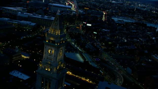 aerial night view custom house building boston usa - custom house tower stock videos & royalty-free footage