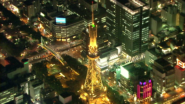 aerial night view downtown nagoya - sendeturm stock-videos und b-roll-filmmaterial