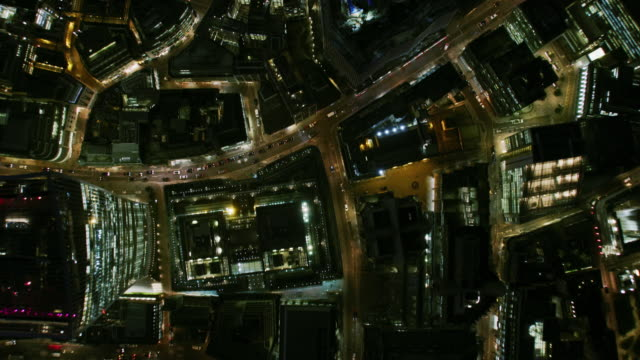aerial night view evening commute london financial district - night stock videos & royalty-free footage
