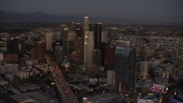 Aerial night view illuminated buildings downtown Los Angeles