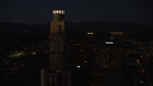 Aerial night view illuminated US Bank Los Angeles