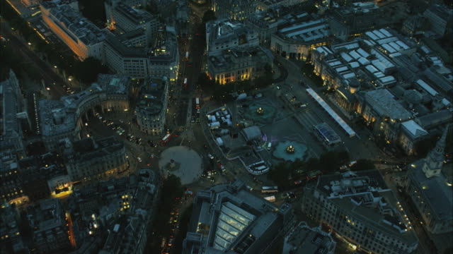 aerial night view of city buildings london uk - square stock videos and b-roll footage